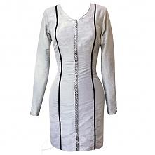 Jedwabna sukienka z czarnymi lamówkami, do zamówienia w butiku Łatka fashion