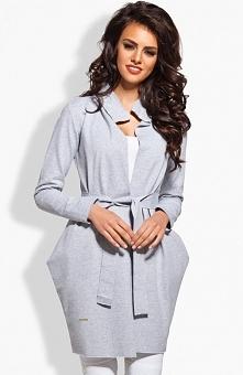 Click Fashion Batumi płaszcz pudrowy róż Żakardowy płaszcz o
