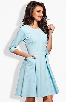 Lemoniade L125 sukienka błękitna Efektowna sukienka, okrągły dekolt, rękaw 3/4