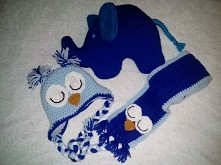 komplet dla noworodka na szydełku.  czapka sowa na polarze do tego szalik sow...