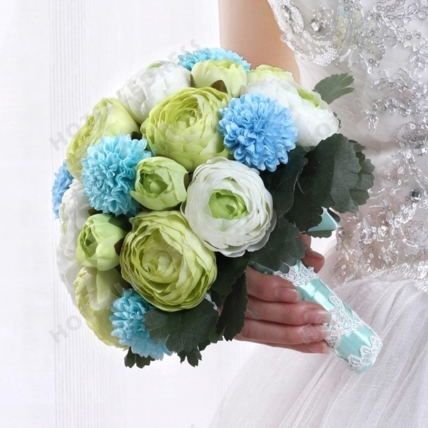 High-End Simulation Green + White Peony Flower Bouquets Wedding Flowers Bridal Bouquets Decorative Flower
