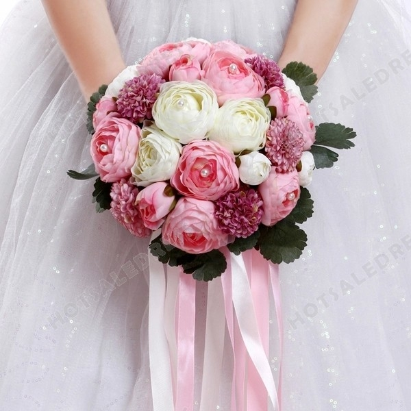 Simulation Pink&White Peony Pink Ribbon Flower Bouquets Wedding Flowers Bridal Bouquets Decorative Flower