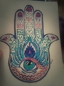 a5 Fatima hand in color drawing