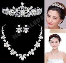 Wedding/Party/Bride Luxury Rhinestone/Alloy/Pearl Crown Necklaces Earrings Se...