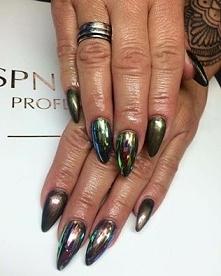 Glass Nails! Szklane paznokcie + lakier hybrydowy z efektem kameleona. Paznok...