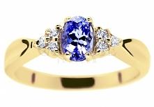 Elegancki, złoty pierścionek zaręczynowy z unikatowym tanzanitem i sześcioma ...
