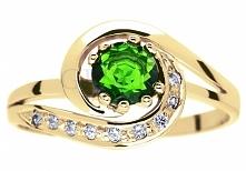 Złoty pierścionek zaręczynowy w stylu retro z szmaragdowozielonym diopsydem i brylantami 0,09 ct - GRAWER W PREZENCIE - kolekcja zaręczynowa GESELLE Jubiler