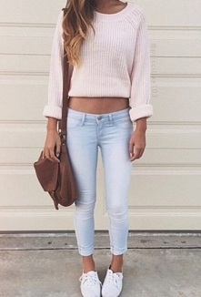 pink sweater & jeans