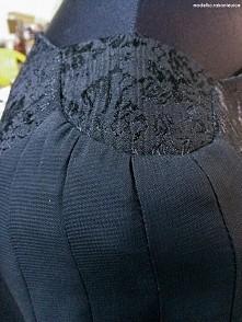 Czarna sukienka - odszycie ramion i rękawa
