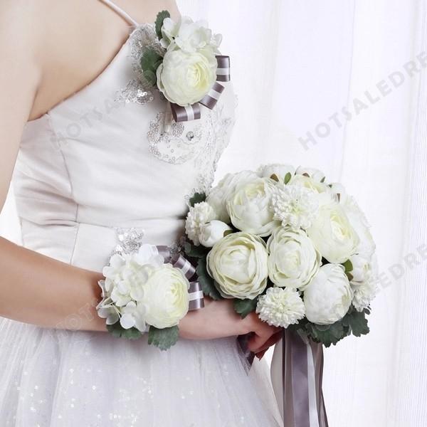 Simulation White Peony Flower Bouquets Wedding Flowers Bridal Bouquets Decorative Flower