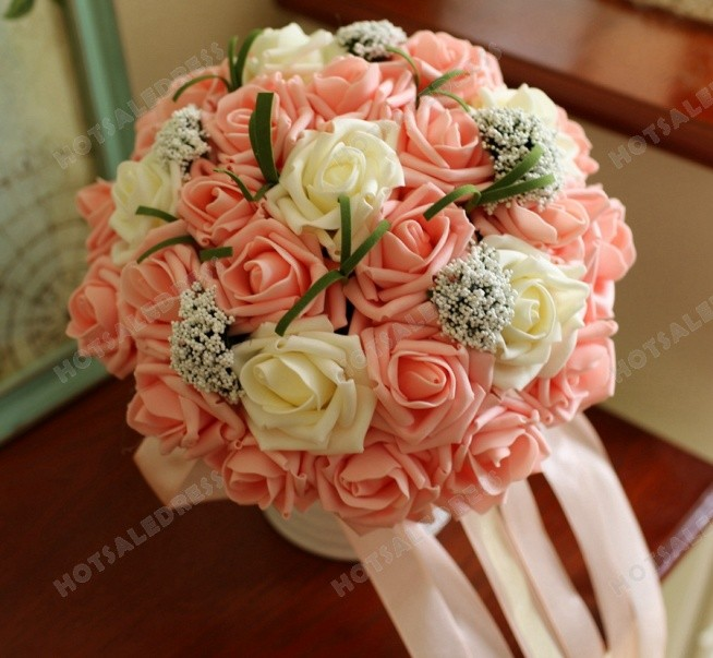 Simulation Roses Ribbon Wedding Flowers Bridal Bouquets Flower Girl Decorative Flower