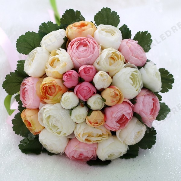High-End Simulation Peony Pink Ribbon Flower Bouquets Wedding Flowers Bridal Bouquets Decorative Flower