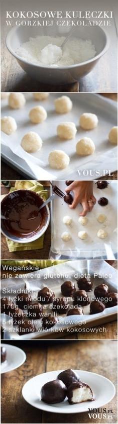 Kokosowe kuleczki w gorzkiej czekoladzie - przepis