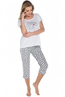 Italian Fashion Amor kr.r. sp.3/4 piżama Komfortowa piżama damska Amor, luźna góra typu oversize, okrągły dekolt