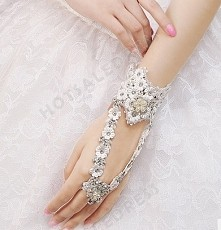 Wrist Length Fingerless Wedding/Party Glove with Pearl Rose Ring