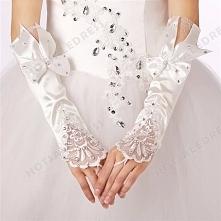 Elbow Length Wedding Fingerless Bowknot Diamond Glove