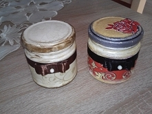 Słoiczki decoupage dla siostry na czarną i brązową hennę;)