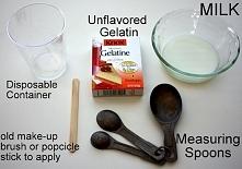 – kubeczka jednorazowego  – żelatyny  – mleka  – czystego pędzelka do makijażu lub szpatułki  – łyżeczek do odmierzania Mieszankę leciutko podgrzewaj w mikrofalówce przez 15 sek...