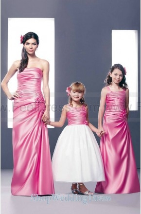 Strapless Ruched A Line Pink Bridesmaid Gown