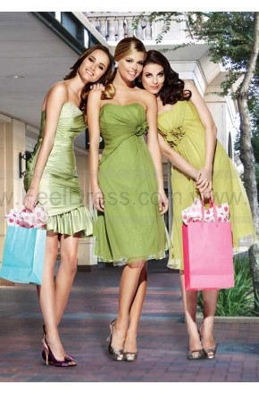 A Line Strapless Knee Length Budgreen Bridesmaid Gown