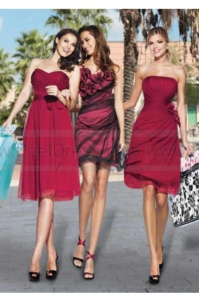 Flower Trimmed Tulle Red Mini Bridesmaid Dress