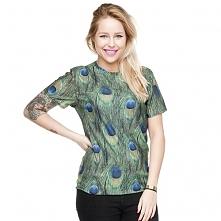 T-shirt Fullprint Pawie Pióro
