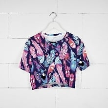 T-shirt Crop Fullprint Pióra