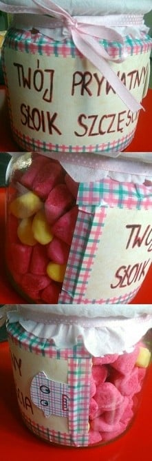 słoik z niespodzianką w środku jako prezent dla przyjaciółki :)
