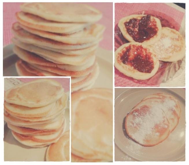 PLACUSZKI 1 szklanka przesianej mąki 125 ml jogurtu naturalnego 125 ml wody 2 jajka 1-2 łyżki masła 1 łyżeczka proszku do pieczenia pół łyżeczki soli pół łyżeczki sody oczyszczonej 1.rozpuszczamy masełko na patelni (będzie stygło a w tym czasie można będzie robić ciasto) 2.jajka lekko ubijamy, łączymy z jogurtem i wodą 3.w drugim naczyniu przesiewamy mąkę i dodajemy do niej pozostałe suche produkty 4.do miski z mąką wlewamy jaja z jogurtem i wodą uważając, aby nie powstały grudki 5.dodajemy roztopione masło smażenie: 6.patelnie musi być mniej więcej płaska i stać na małym ogniu 7.wlewamy odrobinę oleju-tyle, aby tylko placki nie przywarły do patelni 8.ciasto nakładamy łyżką tak, aby na jednej patelni powstało kilka małych placków 9.gdy na ich powierzchni popękają bąbelki, będzie to znak, aby przewrócić je na drugą stronę.powinny mieć złocisty kolor