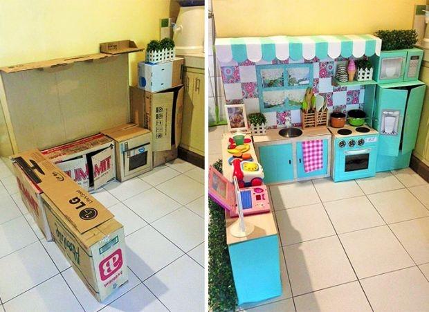 Kuchnia Z Kartonow Dla Dziewczynki Na Przedszkole Zszywka Pl