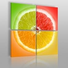 Cytryna w czterech kolorach - nowoczesny obraz na płótnie