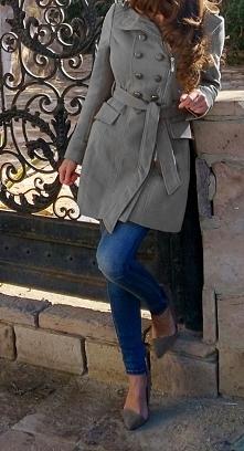 Płaszcz Damski Klasyczny Dwurzędowy Guziki Zamek Wiosenny #95 FASHIONAVENUE