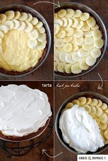 Tarta z bananami i kremem budniowym - Składniki na spód: 350 g ciasteczek Hit...