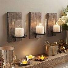 Świeczniki z dodatkiem drewna