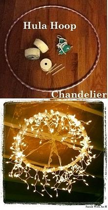 Lampa z hula hop i światełe...