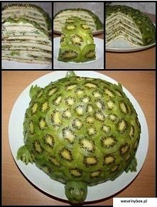 żółwi tort Przepis Składniki kremu: 2 jajka 2 płaskie łyżki stołowe mąki (łyż...