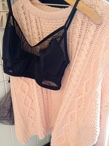 black top & pink sweater