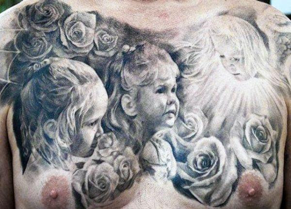 Tatuaże Męskie Na Piersi Dzieci Na Tatuaże Zszywkapl