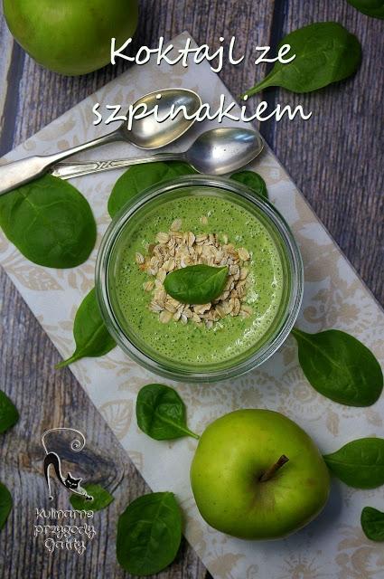 Zielony koktajl szpinakowy z  jabłkiem