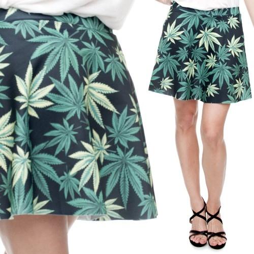 Spódniczka Rozkloszowana Black Weed