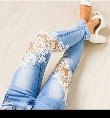 jeansy z koronką ;)