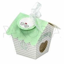 Pudełko PISTACJOWY DOMEK z blankiecikiem. Idealne na chrzest, roczek, baby sh...