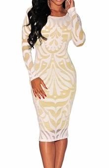 Biała sukienka z wzorami