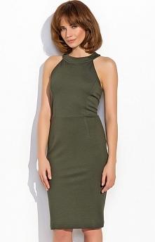 Numinou NU17 sukienka khaki Piękna wieczorowa sukienka, dopasowany fason, bez rękawów