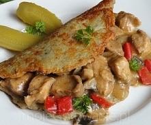 Placki po węgiersku   Składniki  Placki ziemniaczane: 10 niedużych ziemniaków jajko ok 1/3 szkl mąki sól, pieprz, majeranek 1 mała cebula Gulasz: 50 dag mięsa wieprzowego duża c...