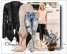 Wiosenna Stylizacja Kardigan #98 + Spodnie Jeans #S004 w sklepie FashionAvenu...