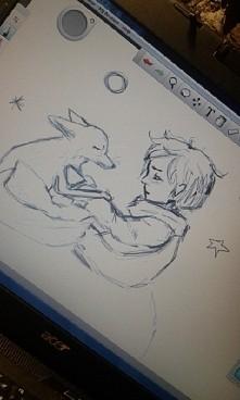 Pierwsze podejście do tabletu graficznego ☆☆ . Ilustracja do książki Mały Ksi...