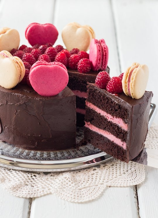 Chocolate Raspberry Layer Cake with Macarons