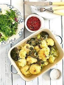 Kalafior i brokuł zapiekane pod sosem beszamelowo-serowym