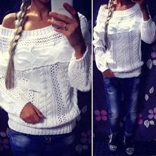 Pleciony biały sweterek na chłodne wieczory ;) Do kupienia na noshame.pl
